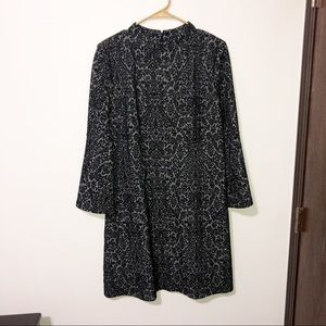 Loft black gray felt texture bell sleeve dress 12